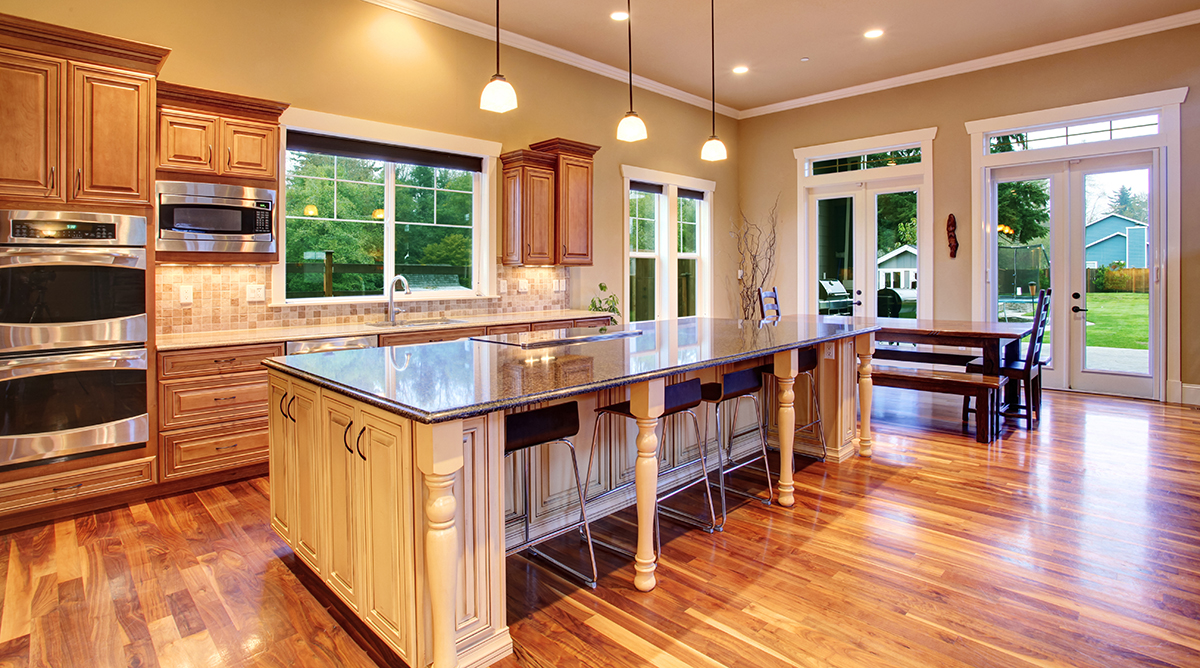 Newly renovated, modern kitchen seen during a home inspection